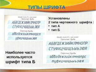 ТИПЫ ШРИФТА Установлены 2 типа чертежного шрифта : тип А тип Б Наиболее часто