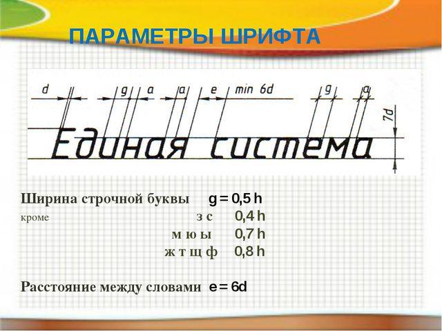 ПАРАМЕТРЫ ШРИФТА Ширина строчной буквы g = 0,5 h кроме з с 0,4 h м ю ы 0,7 h...