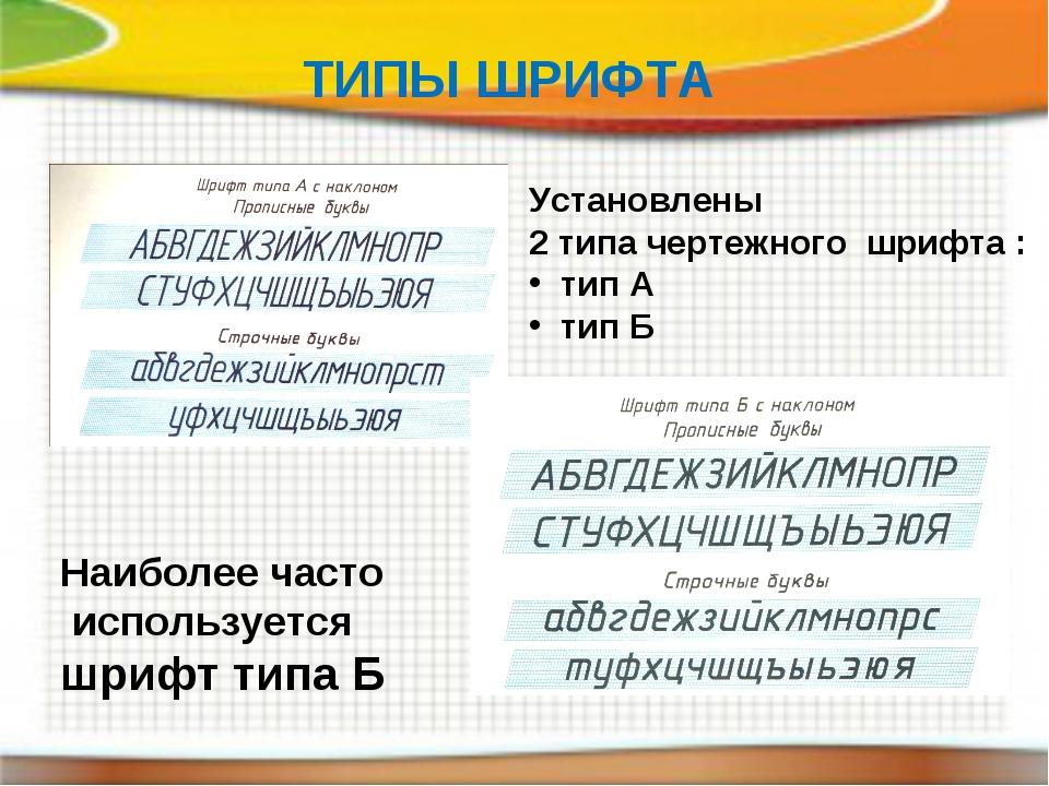 ТИПЫ ШРИФТА Установлены 2 типа чертежного шрифта : тип А тип Б Наиболее часто...