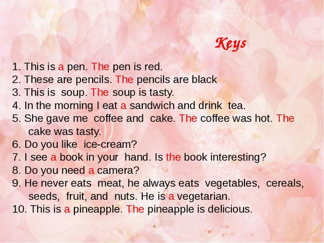 1. This is a pen. The pen is red. 2. These are pencils. The pencils are black...