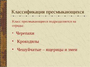 Классификация пресмыкающихся Класс пресмыкающиеся подразделяется на отряды: Ч