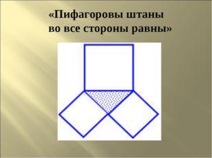 «Пифагоровы штаны во все стороны равны»