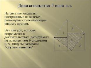 На рисунке квадраты, построенные на катетах, размещены ступенями один рядом с