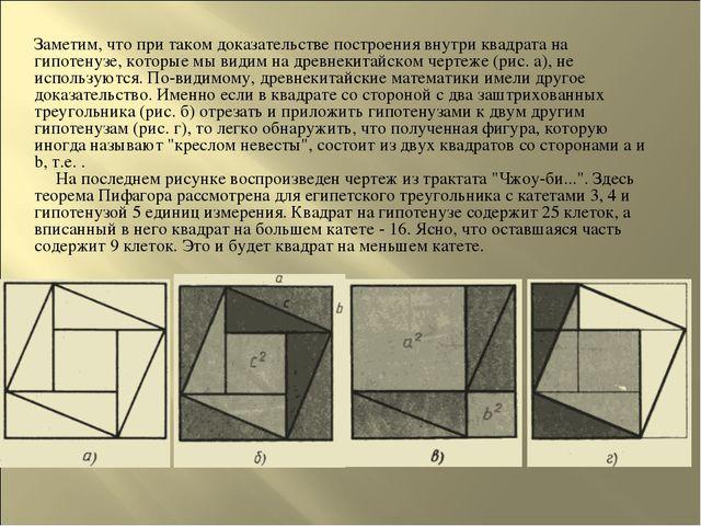 Заметим, что при таком доказательстве построения внутри квадрата на гипотенуз...