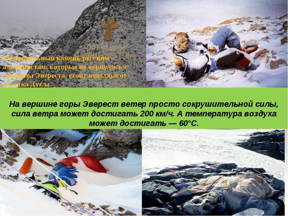Мемориальный камень русским альпинистам, которые не вернулись с вершины Эвер...