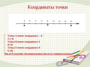 Координаты точки Точка А имеет координату – 4 . А (-4) Точка В имеет координа