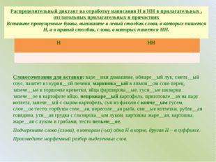 Распределительный диктант на отработку написания Н и НН в прилагательных , от