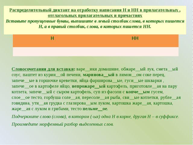 Распределительный диктант на отработку написания Н и НН в прилагательных , от...