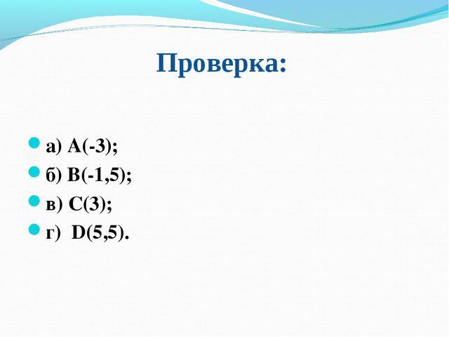 Проверка: а) А(-3); б) В(-1,5); в) С(3); г) D(5,5).