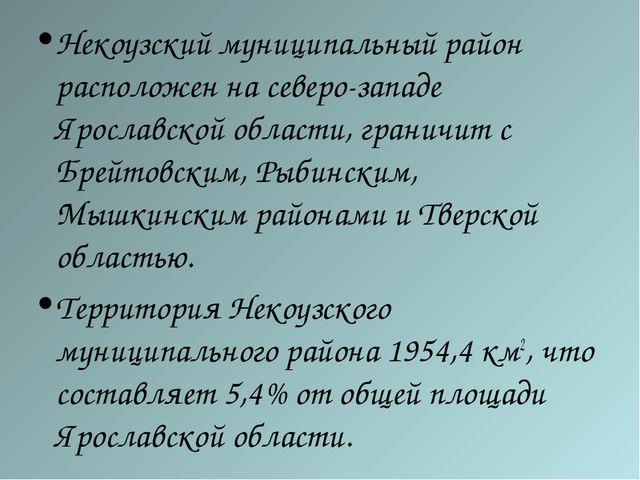 Некоузский муниципальный район расположен на северо-западе Ярославской област...