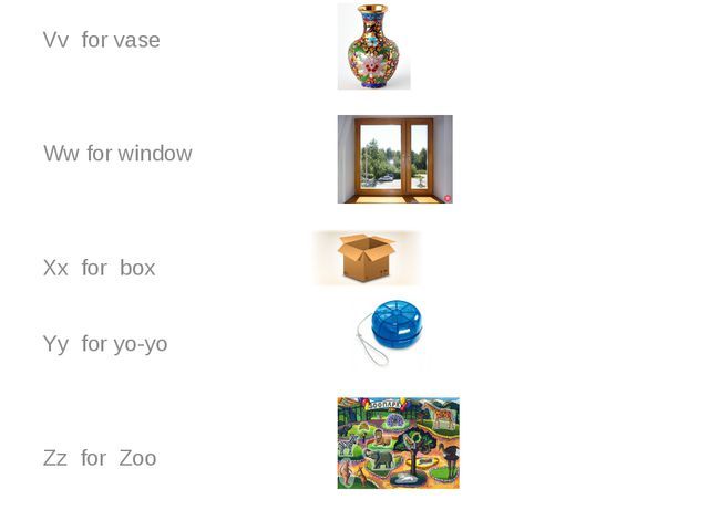 Vv for vase Ww for window Xx for box Yy for yo-yo Zz for Zoo