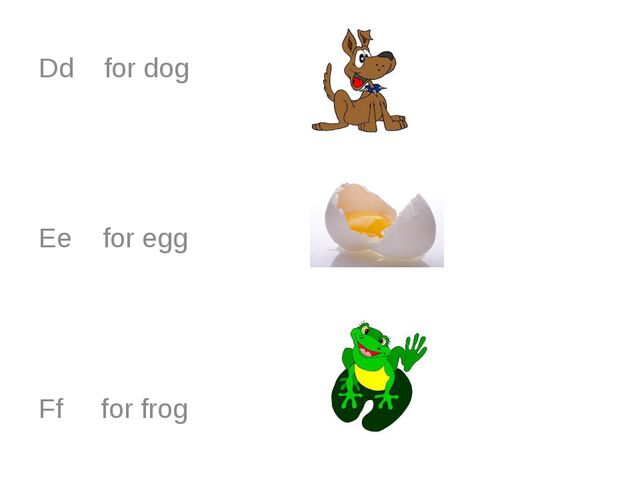 Dd for dog Ee for egg Ff for frog