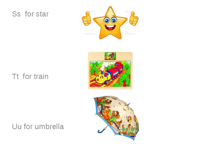 Ss for star Tt for train Uu for umbrella
