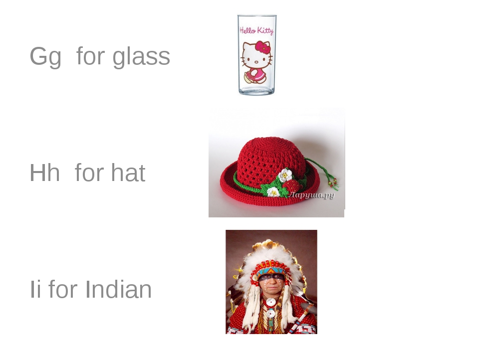 Gg for glass Hh for hat Ii for Indian