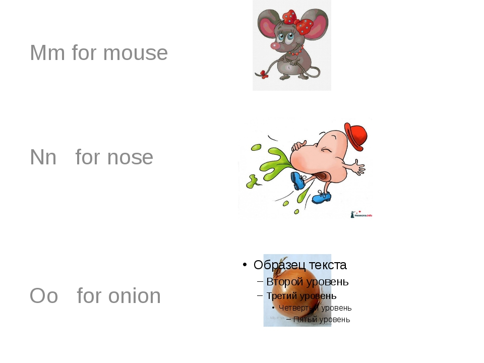 Mm for mouse Nn for nose Oo for onion