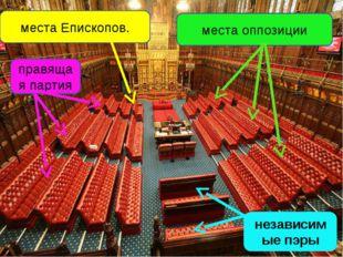 места Епископов. места оппозиции правящая партия независимые пэры