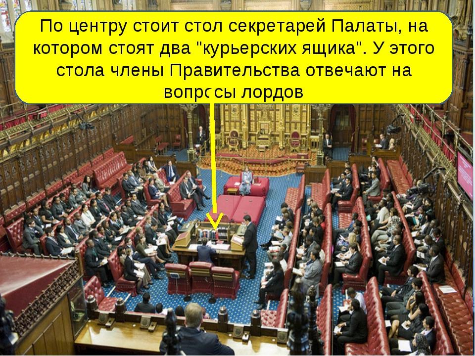 """По центру стоит стол секретарей Палаты, на котором стоят два """"курьерских ящик..."""