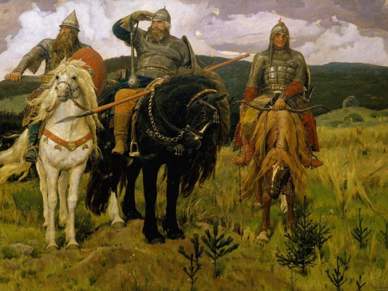 Картинки картина, васнецова, три богатыря, ель, лошадь, небо - обои 1600x1200, картинка 87341