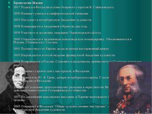 Хронология Жизни 1817 Родился в Феодосии в семье базарного старосты К. Гайваз