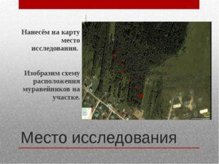 Место исследования Нанесём на карту место исследования. Изобразим схему распо
