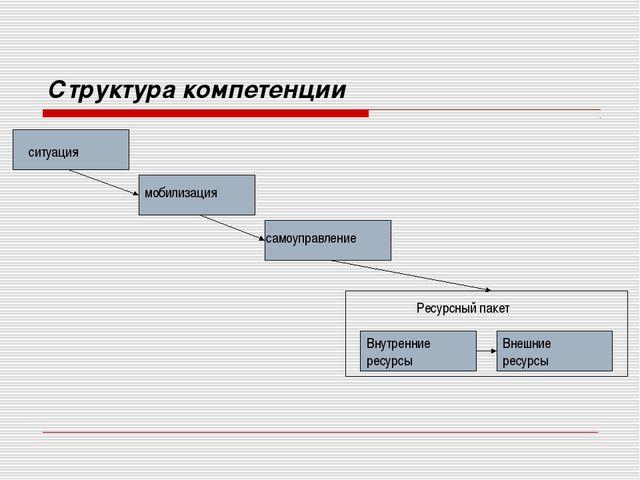 Структура компетенции ситуация мобилизация самоуправление Внутренние ресурсы...