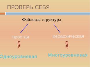 ПРОВЕРЬ СЕБЯ Файловая структура простая иерархическая или или М н о г о у р о