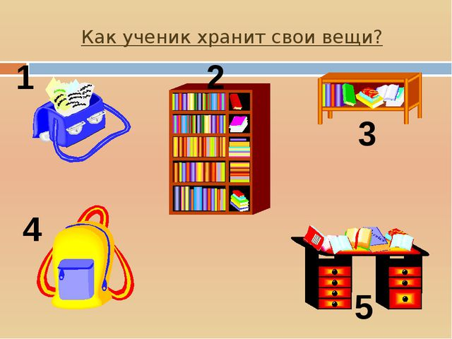 Как ученик хранит свои вещи? 1 2 3 4 5