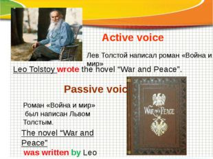 "Active voice Passive voice Leo Tolstoy wrote the novel ""War and Peace"". The n"