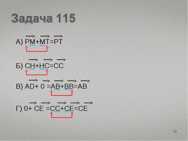 А) PM+MT=PT * Б) CH+HC=CC В) AD+ 0 =AB+BB=AB Г) 0+ CE =CC+CE=CE