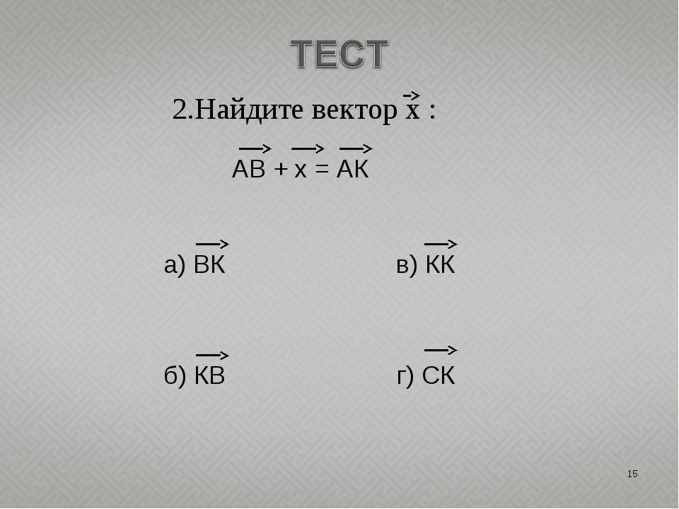 * 2.Найдите вектор х : АВ + х = АК а) ВК в) КК б) КВ г) СК