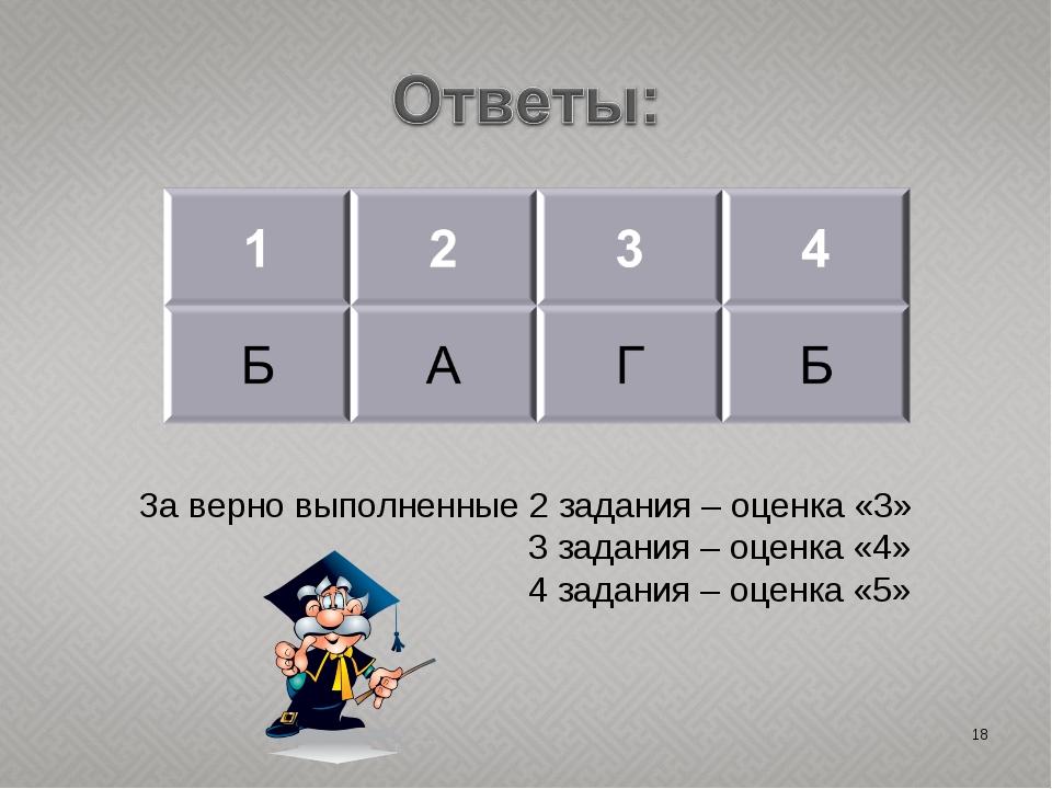* За верно выполненные 2 задания – оценка «3» 3 задания – оценка «4» 4 задани...