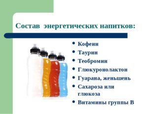 Состав энергетических напитков: Кофеин Таурин Теобромин Глюкуронолактон Гуара