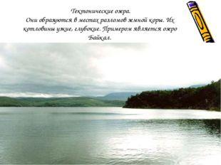 Тектонические озера. Они образуются в местах разломов земной коры. Их котлов