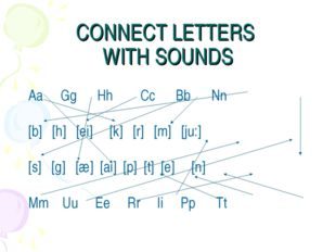 CONNECT LETTERS WITH SOUNDS Aa Gg Hh Cc Bb Nn [b] [h] [ei] [k] [r] [m] [ju:]