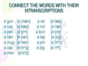 CONNECT THE WORDS WITH THEIR NTRANSCRIPTIONS a gun [ә´mæn] a rat [ә´tæp] a cu