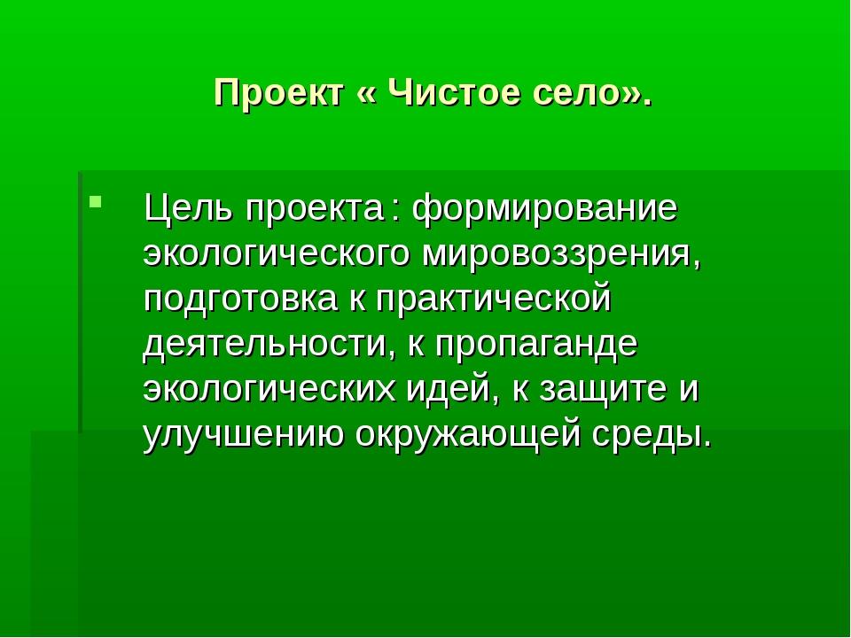 Проект « Чистое село». Цель проекта : формирование экологического мировоззрен...