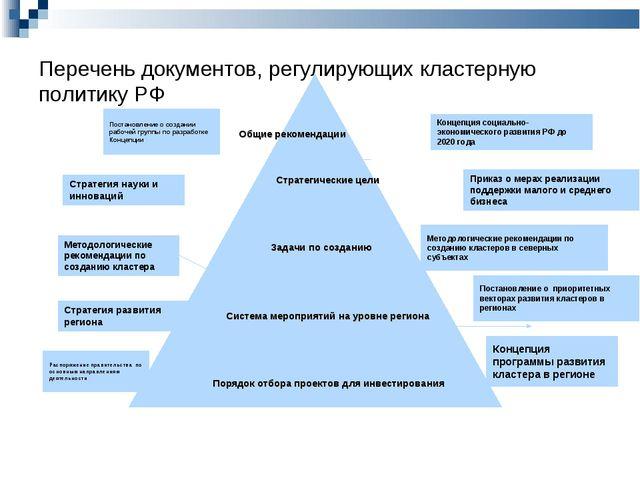 Перечень документов, регулирующих кластерную политику РФ Концепция социально-...