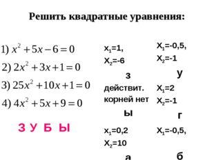Решить квадратные уравнения: З У Б Ы х1=1, Х2=-6 зХ1=-0,5, Х2=-1 у действит.