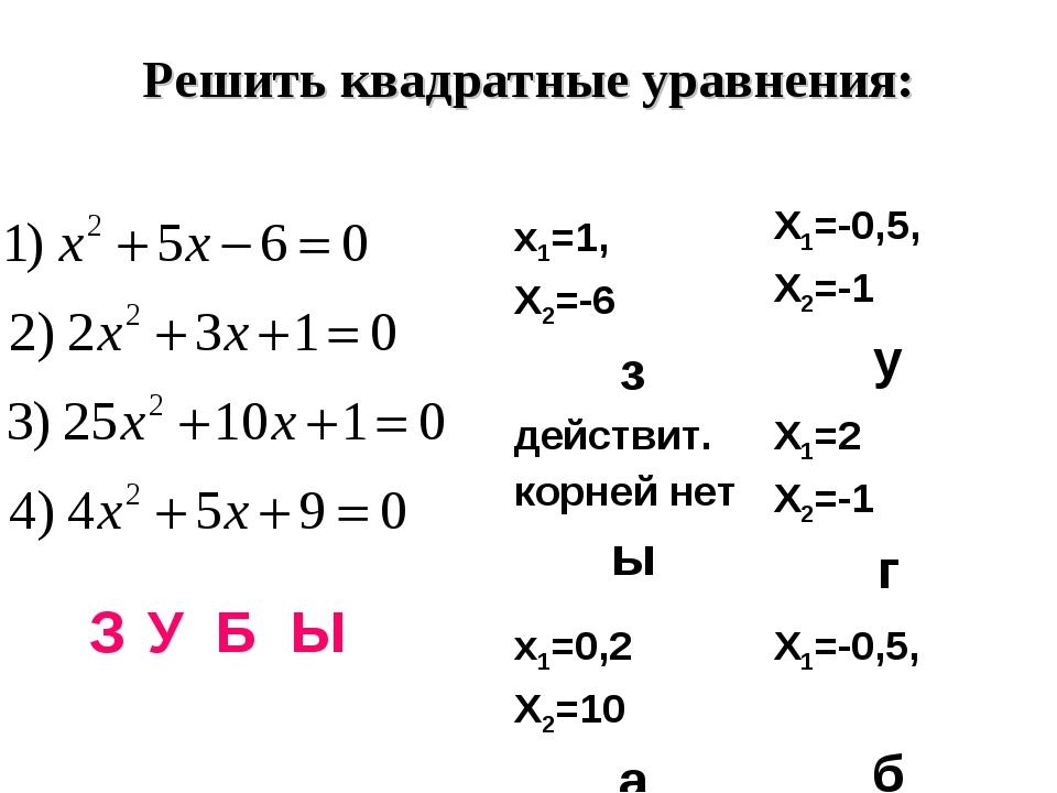 Решить квадратные уравнения: З У Б Ы х1=1, Х2=-6 зХ1=-0,5, Х2=-1 у действит....