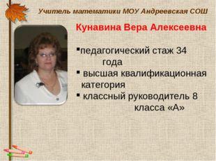 Учитель математики МОУ Андреевская СОШ Кунавина Вера Алексеевна педагогически