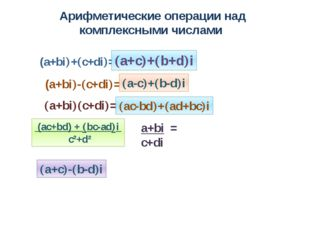 Арифметические операции над комплексными числами (a+bi+c+di= (a+bi-c+di