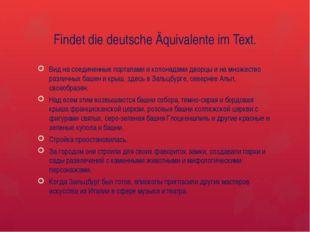 Findet die deutsche Äquivalente im Text. Вид на соединенные порталами и колон