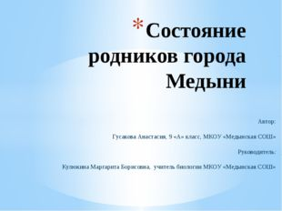 Состояние родников города Медыни Автор: Гусакова Анастасия, 9 «А» класс, МКОУ