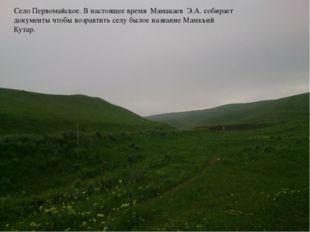 Село Первомайское. В настоящее время Мамакаев Э.А. собирает документы чтобы в