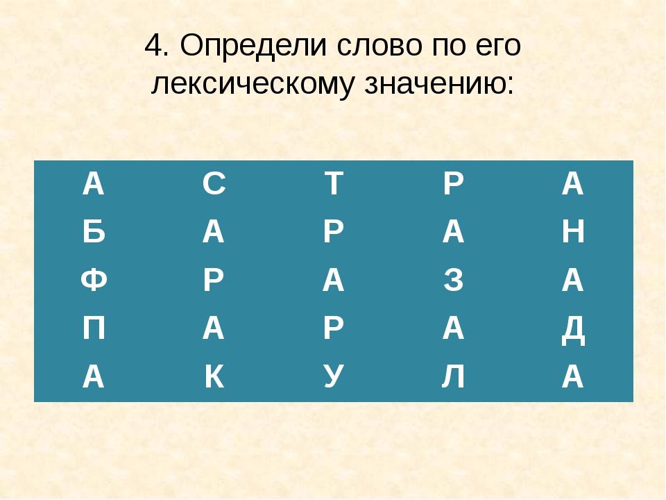 4. Определи слово по его лексическому значению: А С Т Р А Б А Р А Н Ф Р А З А...