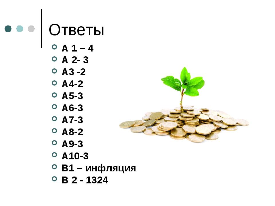 Ответы А 1 – 4 А 2- 3 А3 -2 А4-2 А5-3 А6-3 А7-3 А8-2 А9-3 А10-3 В1 – инфляция...