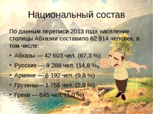 Национальный состав По данным переписи2013 годанаселение столицы Абхазии со