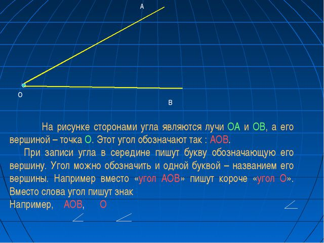 А О В На рисунке сторонами угла являются лучи ОА и ОВ, а его вершиной – точк...