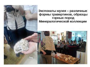 Экспонаты музея – различные формы травертинов, образцы горных пород Минералог