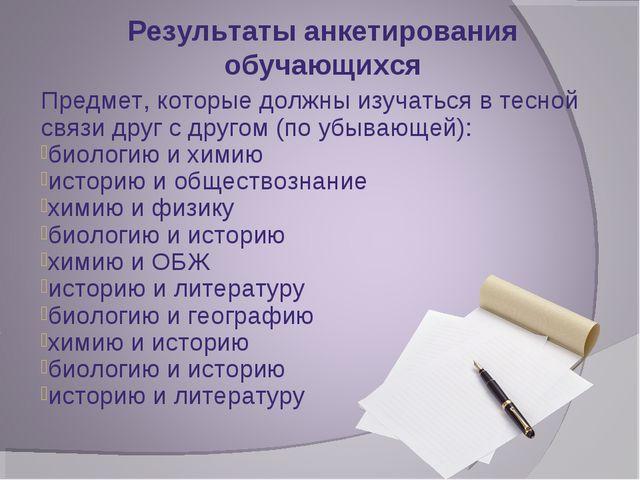 Результаты анкетирования обучающихся Предмет, которые должны изучаться в тесн...